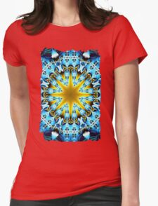 Bright star in a blue patterns environment Womens Fitted T-Shirt
