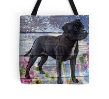 Staffy old painted wood  Tote Bag