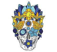 Royal Dead, Blue Floral Detail Crown and Skull Photographic Print