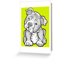 Pit Bull  Pup Tilted Head Cartoon White Greeting Card