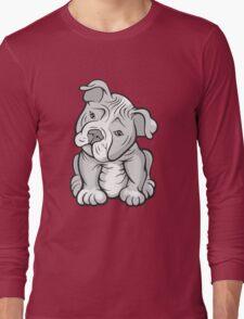 Pit Bull  Pup Tilted Head Cartoon White Long Sleeve T-Shirt