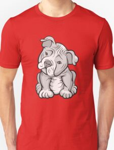 Pit Bull  Pup Tilted Head Cartoon White T-Shirt