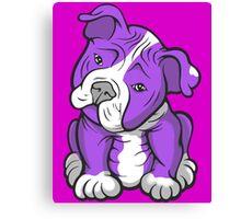 Pit Bull  Pup Tilted Head Cartoon Purple Canvas Print