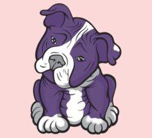 Pit Bull  Pup Tilted Head Cartoon Purple Kids Clothes
