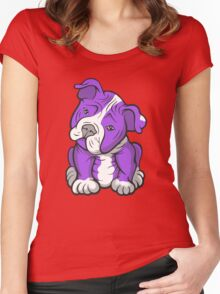 Pit Bull  Pup Tilted Head Cartoon Purple Women's Fitted Scoop T-Shirt