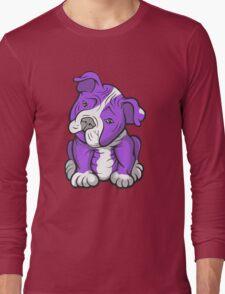 Pit Bull  Pup Tilted Head Cartoon Purple Long Sleeve T-Shirt