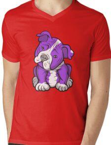 Pit Bull  Pup Tilted Head Cartoon Purple Mens V-Neck T-Shirt