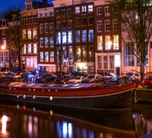 Night Lights on the Amsterdam Canals. Holland Sticker
