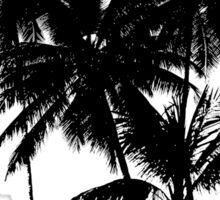Tropical Island Sunset Scene Illustration Sticker