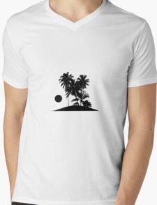 Tropical Island Sunset Scene Illustration T-Shirt