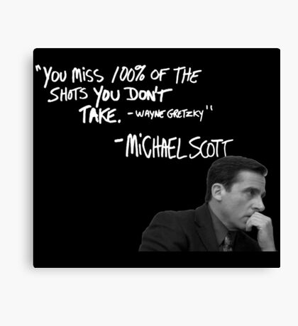 Michael Scott's Inspirational Quote (Black) Canvas Print