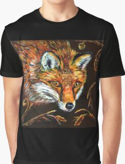 Red Fox in Autumn Fall Wildlife Woodland Animal Art Graphic T-Shirt