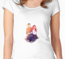 Sophia Bush and Jesse Lee Soffer Watercolor Women's Fitted Scoop T-Shirt