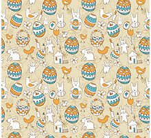 Easter Child Scribbles Seamless Pattern Photographic Print