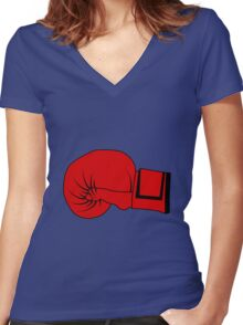 Boxing Glove Women's Fitted V-Neck T-Shirt