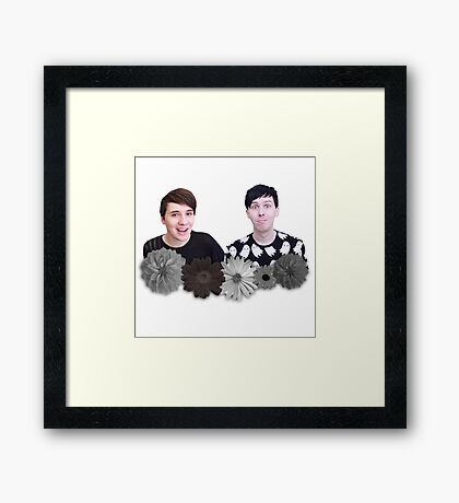 Dan and Phil- Black and White Flowers Framed Print