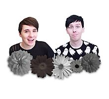Dan and Phil- Black and White Flowers Photographic Print