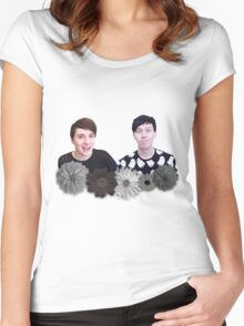 Dan and Phil- Black and White Flowers Women's Fitted Scoop T-Shirt