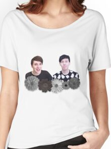 Dan and Phil- Black and White Flowers Women's Relaxed Fit T-Shirt