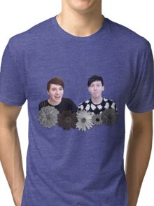 Dan and Phil- Black and White Flowers Tri-blend T-Shirt