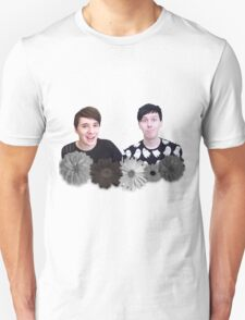 Dan and Phil- Black and White Flowers T-Shirt
