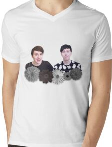Dan and Phil- Black and White Flowers Mens V-Neck T-Shirt