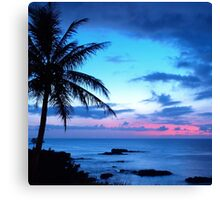 Tropical Island Pretty Pink Blue Sunset Landscape Canvas Print