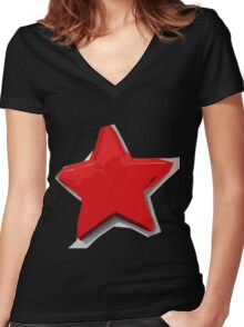 Shredded Star #1 Women's Fitted V-Neck T-Shirt