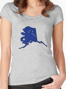 Alaska flag state outline Women's Fitted Scoop T-Shirt