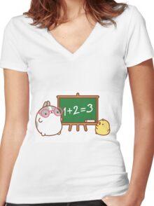 kawaii molang bunny teaching piu piu Women's Fitted V-Neck T-Shirt