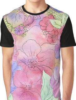 Floral Watercolour Collage 3  Graphic T-Shirt