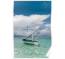 Maldivian Boat Dhoni on the Peaceful Water of the Blue Lagoon Poster