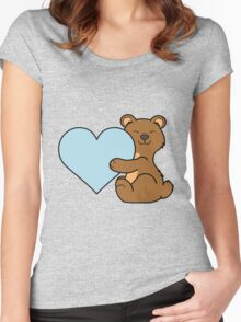Valentine's Day Brown Bear with Light Blue Heart Women's Fitted Scoop T-Shirt