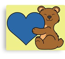 Valentine's Day Brown Bear with Blue Heart Canvas Print