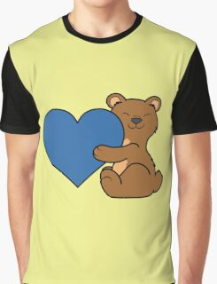 Valentine's Day Brown Bear with Blue Heart Graphic T-Shirt