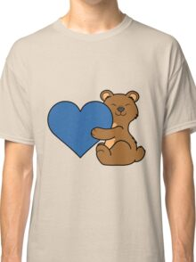 Valentine's Day Brown Bear with Blue Heart Classic T-Shirt