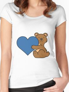 Valentine's Day Brown Bear with Blue Heart Women's Fitted Scoop T-Shirt