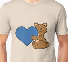 Valentine's Day Brown Bear with Blue Heart Unisex T-Shirt