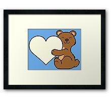 Valentine's Day Brown Bear with Cream Heart Framed Print
