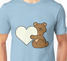 Valentine's Day Brown Bear with Cream Heart Unisex T-Shirt
