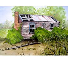 Old Ruined Cottage in Coleraine Watercolour Painting Photographic Print