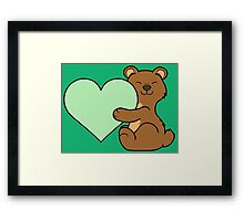 Valentine's Day Brown Bear with Light Green Heart Framed Print