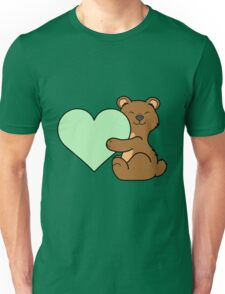 Valentine's Day Brown Bear with Light Green Heart Unisex T-Shirt