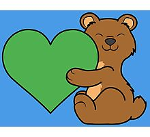 Valentine's Day Brown Bear with Green Heart Photographic Print