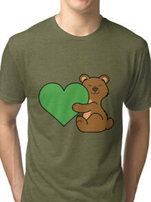 Valentine's Day Brown Bear with Green Heart Tri-blend T-Shirt