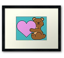 Valentine's Day Brown Bear with Light Pink Heart Framed Print
