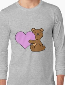 Valentine's Day Brown Bear with Light Pink Heart Long Sleeve T-Shirt