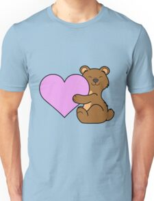 Valentine's Day Brown Bear with Light Pink Heart Unisex T-Shirt