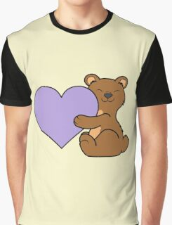 Valentine's Day Brown Bear with Light Purple Heart Graphic T-Shirt