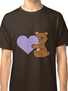 Valentine's Day Brown Bear with Light Purple Heart Classic T-Shirt